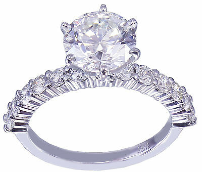 GIA H-SI1 18K White Gold Round Cut Diamond Engagement Ring Deco Prong 2.10ctw