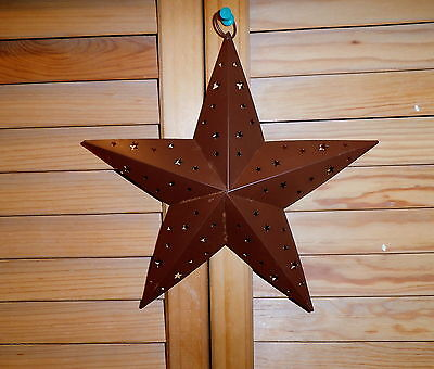 8 Inch Rustic Tin hanging Primitive star with Star Cutout