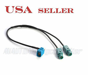 VW-AUDI-Dual-Male-Fakra-Y-Splitter-to-Female-Fakra-Antenna-Adapter-53A