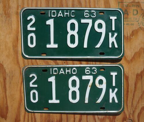 1963 Idaho Truck License Plate PAIR / SET