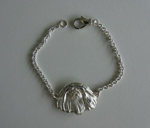 Large Sterling Silver Pekingese Head Bracelet