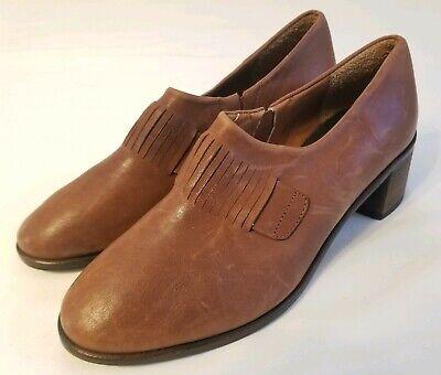 Anthropologie Kupuri Edith Loafer Block Heels Brown Leather Size 38 New
