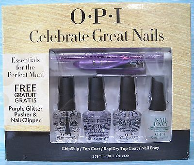 OPI CELEBRATE GREAT NAILS Set~Chip Skip/Top/RapiDry/Nail Envy + Pusher & Clipper