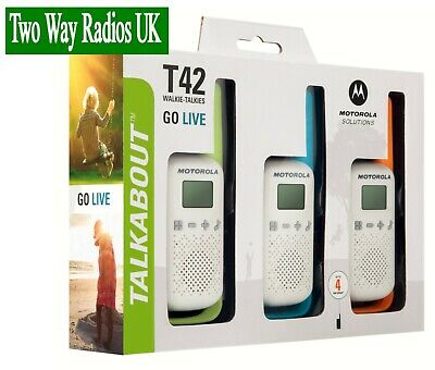 MOTOROLA WALKIE TALKIES TWO WAY RADIOS - LICENCE FREE T42 TRIPLE PACK - WHITE