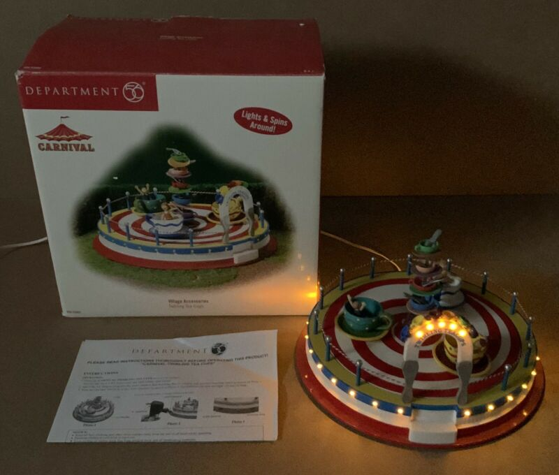 Department 56 Twirling Tea Cups Ride Carnival Collection Village Accessories