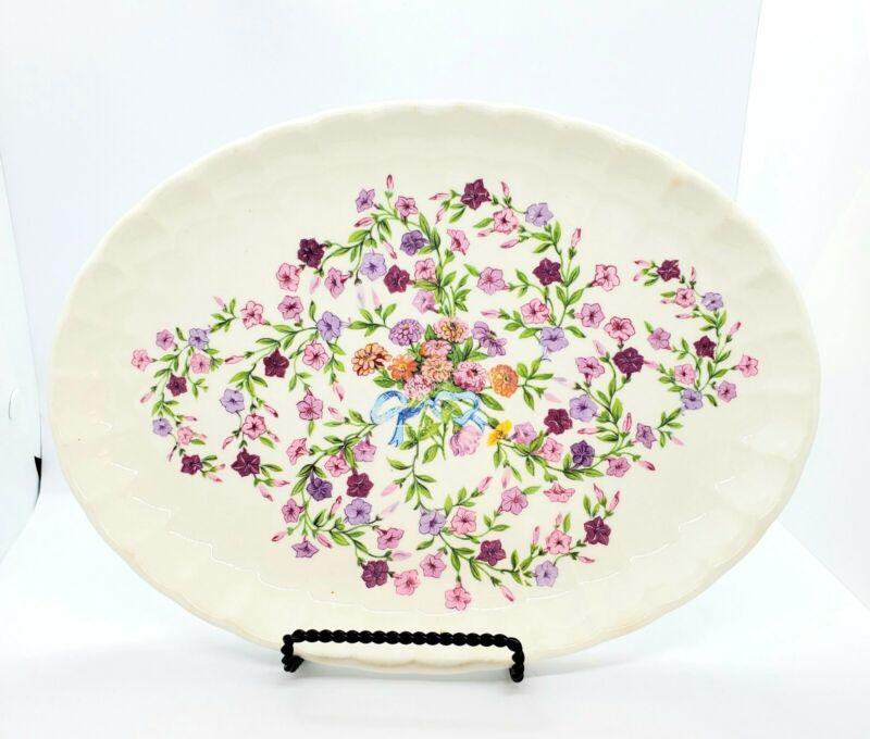 "WS George Bolero Fiesta 11.5"" Platter VINTAGE 1914 Pink Purple Floral"