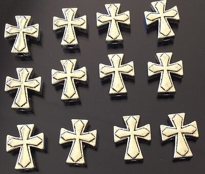 - 24 Fine Antique Silver rosary cross charms-Beads- Rosary Findings