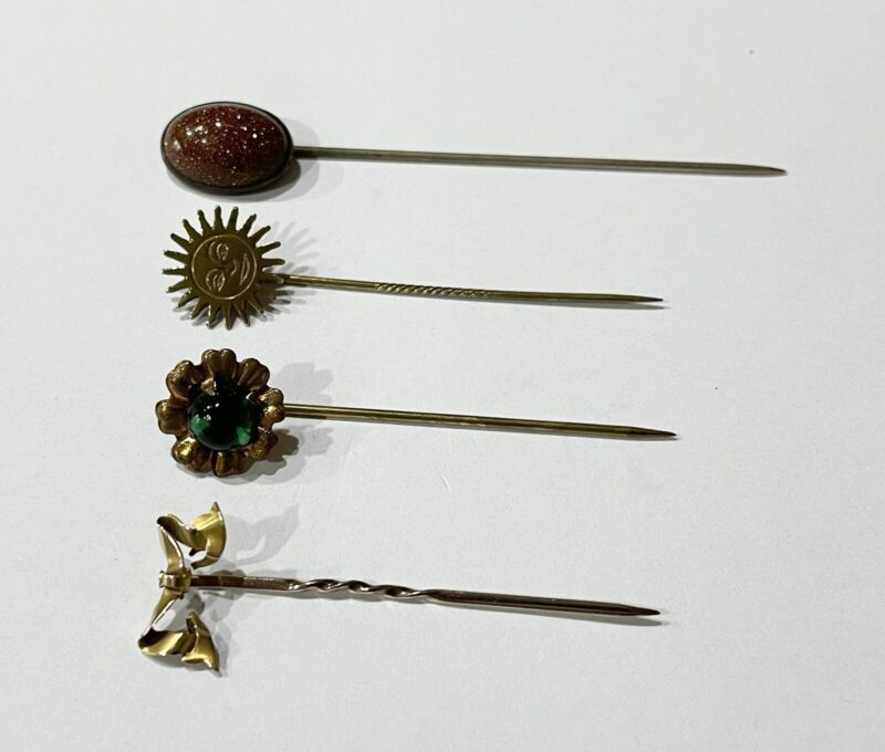 ANTIQUE & VINTAGE 4 STICK PIN LOT including 10K solid gold pin
