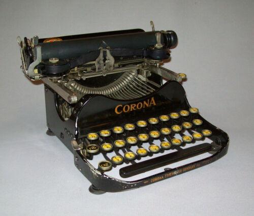 Old Vtg 1919 Corona Folding Portable Manual Typewriter 1910s Very Clean W/ Case