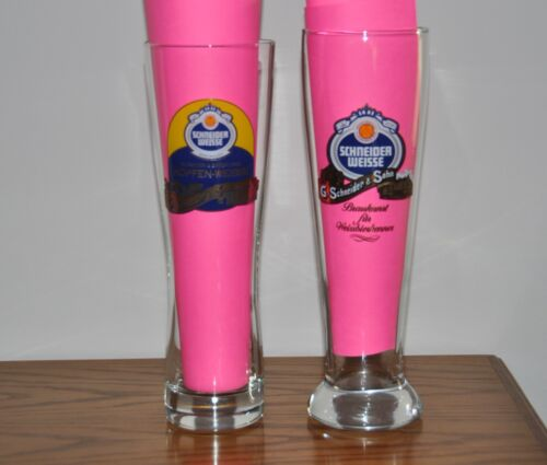 SET OF 2 SCHNEIDER WEISSE GERMAN BEER GLASSES - 0.5 Liter - Weissbier""