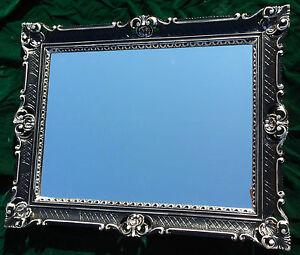 Miroir mural baroque grand miroir noir argent haute for Grand miroir cadre noir