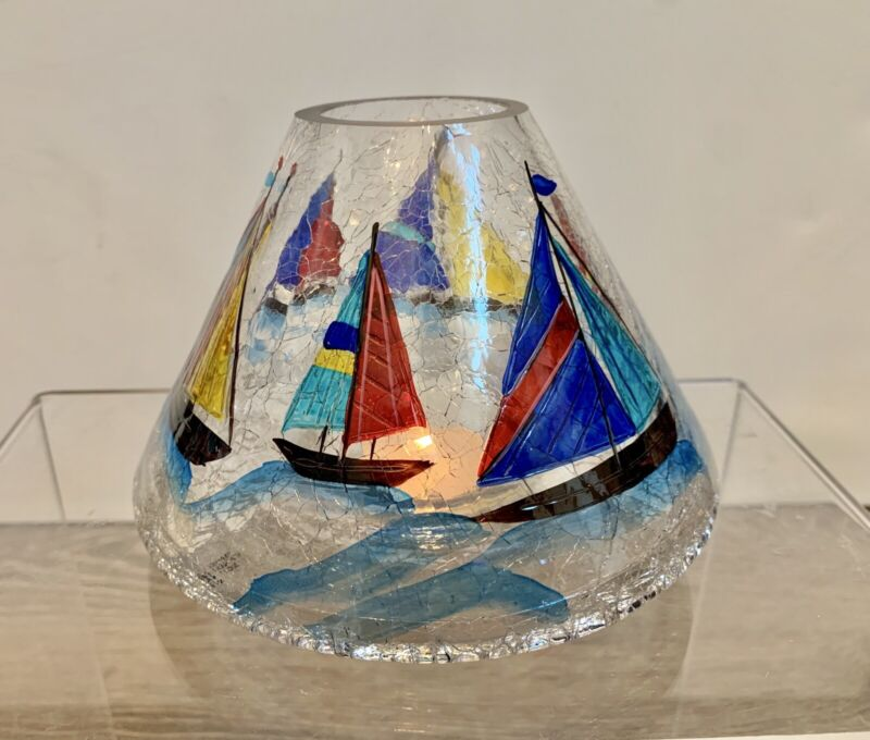 Yankee Candle Lampshade Jar Topper Nautical Sailboat Crackle Glass RETIRED 2011