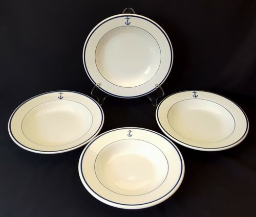 Four US Navy Fouled Anchor 9 Inch Soup/Cereal Bowls