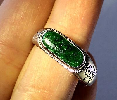 Jade Floral Band Ring - Antique Floral Men's Ring Band Natural Rare Green Jade 18K White Gold Sz 10.25