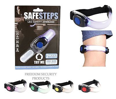 Safe Steps LED Safety Light Armband Wristband Belt Night Running Reflective Gear