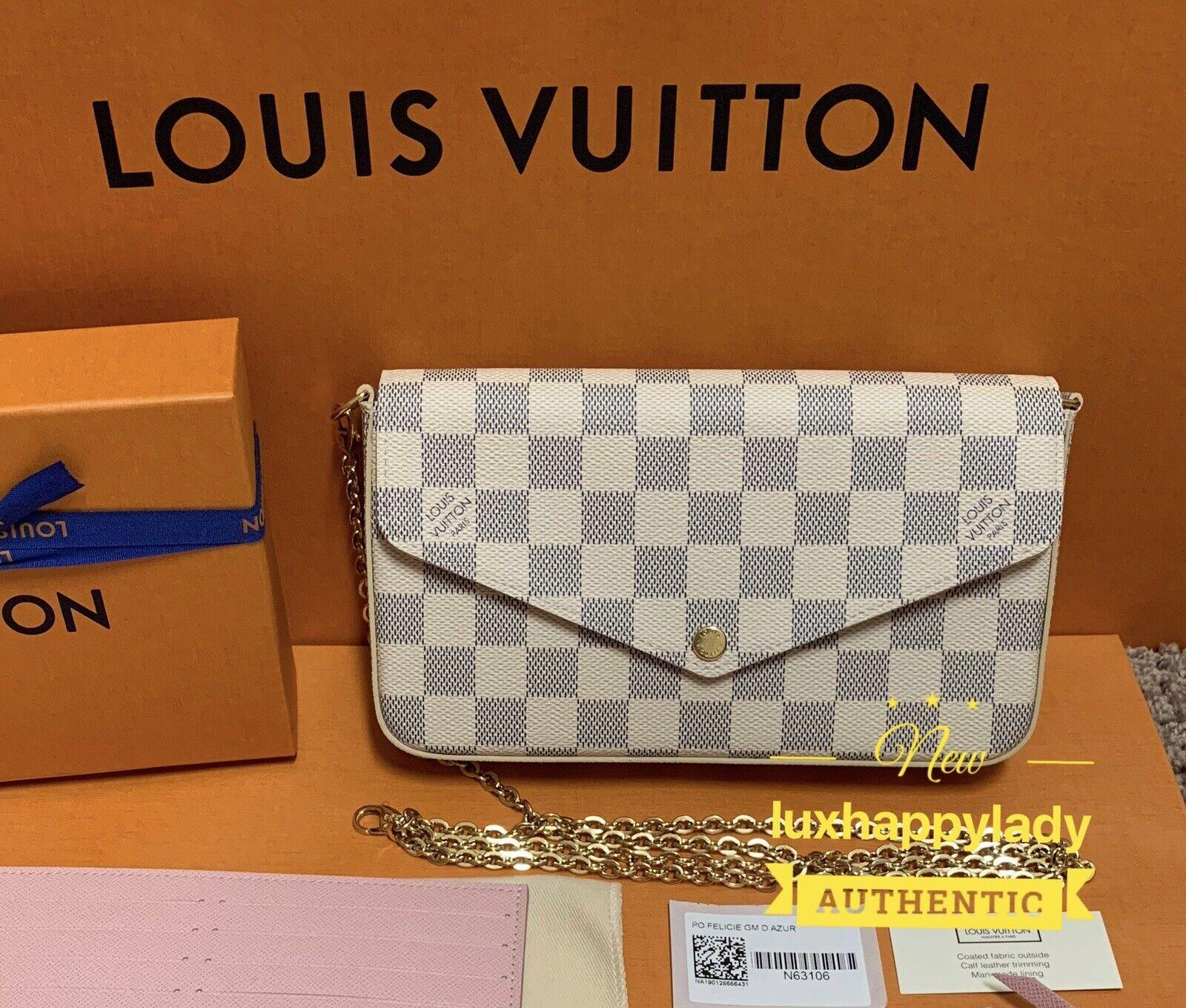New Louis Vuitton Damier Azur Pochette Felicie Chain Bag Italy 2020 Gift Set