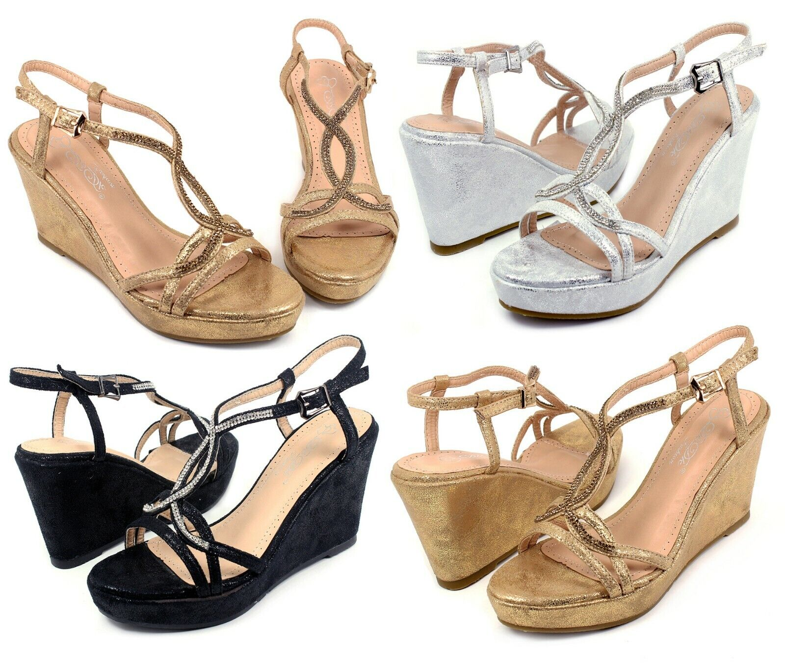 """MARIVE-5 New Blink Wedges Party Prom 3.2"""" inch High Heel 1"""""""
