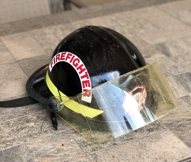 Bullard Firedome Model FX Firefighter Black Helmet w/ Shield 1990s