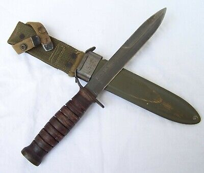 EXC.! Orig. WW2 Blade Marked PAL M-3 Paratrooper, Trench Fighting Knife+ Scabbrd