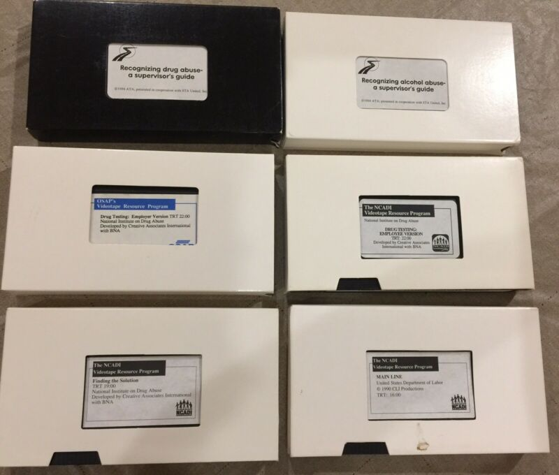 Lot Of Six Supervisor Training VHS Tapes For Alcohol And Drug Abuse Identifier