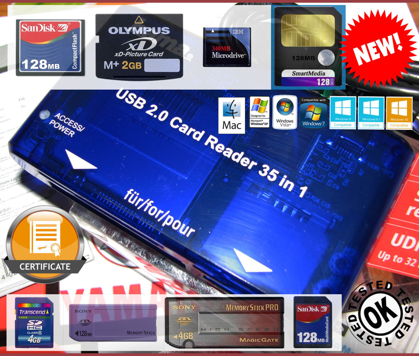 Lecteur de carte mémoire-Lettore PC Card READER Smartmedia CF-KORG-Yamaha-ROLAND