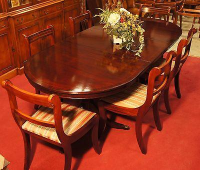 Regency  Esstisch und sechs regency Stühle in Mahagoni mit  Ausziehplatte