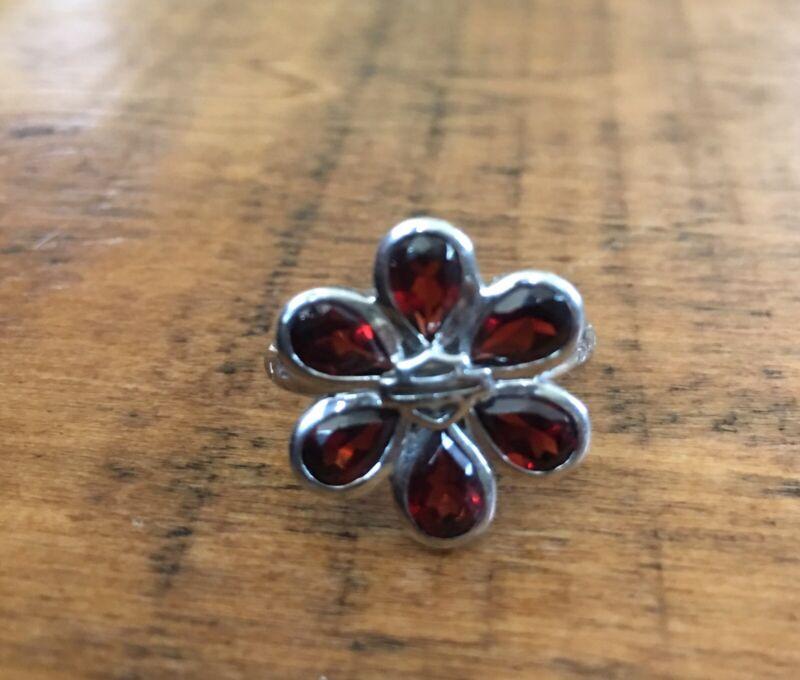 Harley-Davidson® Bar & Shield MOD .925 Sterling Silver Garnet Flower Ring  Sz 7