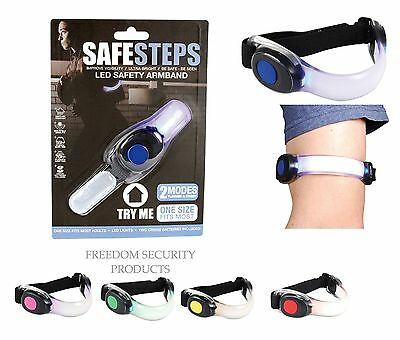 1pk Safe Steps LED Safety Light Armband Wristband Night Running Reflective Gear