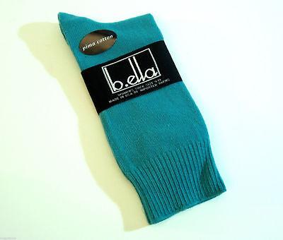 b.ella Ladies Pima Cotton Blend Crew Trouser Socks Bastia Teal - NEW Blend Trouser Sock