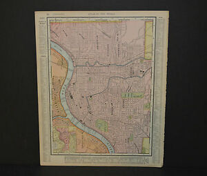 Antique Color map of Cincinnati. Circa 1903. Nice detail