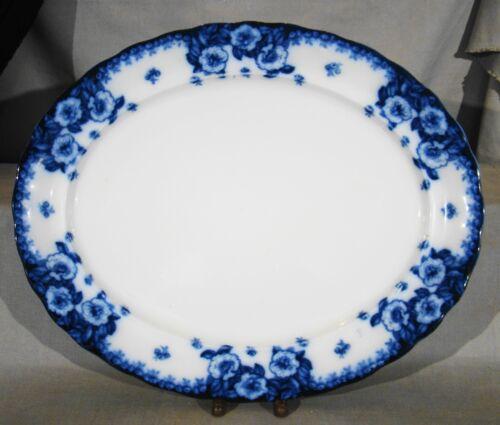 """Flow Blue Furnivals English Rose Large Platter 17 1/2"""" c1901"""