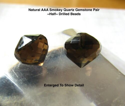 Inverted Half Drilled Matched Pair Beads, AAA Natural Smokey Quartz Beads,