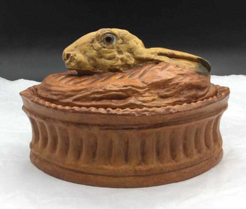 Pilliuvyt Rabbit Hare Ceramic Game Glass Eyes Covered Casserole Tureen