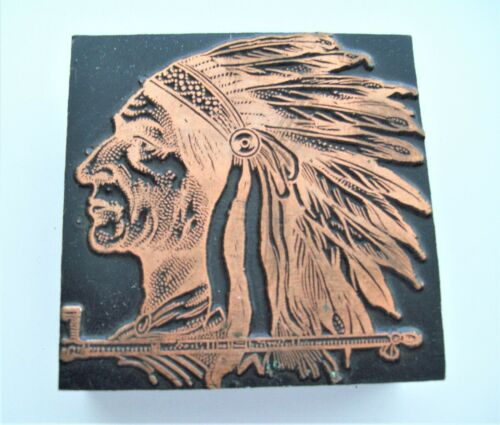 Vintage Indian Head with Full Headdress and Peace Pipe Printing Block