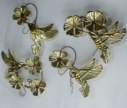 Vintage 4 Piece Set Metal Hummingbirds & Flowers Wall Art HOMCO Home Interiors
