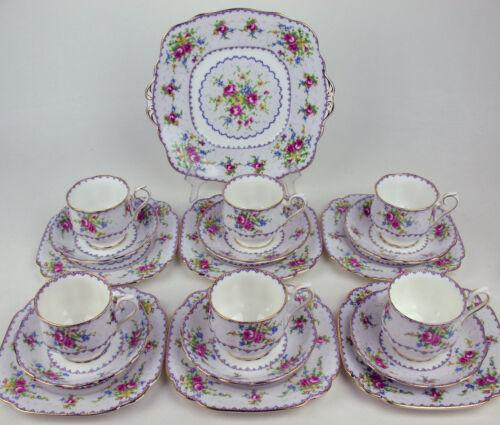 19 Pc Set - Teacups Plates Trios + Cake Platter Royal Albert Petit Point England