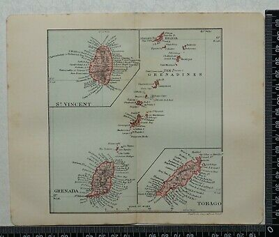 1914 Vintage Stanford Map of St. Vincent, Grenada, Tobago & The Grenadines