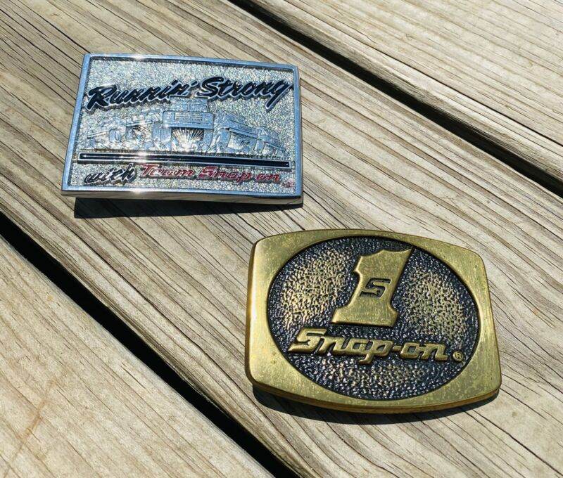 Vintage Snap On Tools Belt Buckle Lot Of 2 Solid Brass Chrome Made in USA Vtg