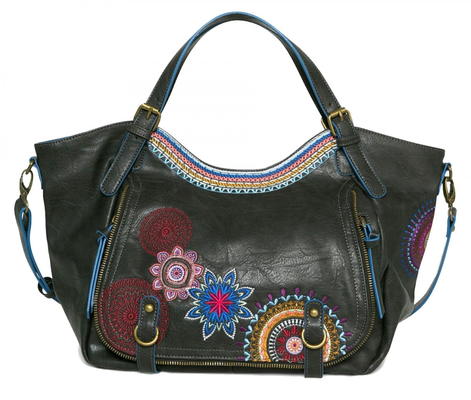 Desigual Bols Rotterdam Amber Umhängetasche Handtasche Tasche Negro Neu