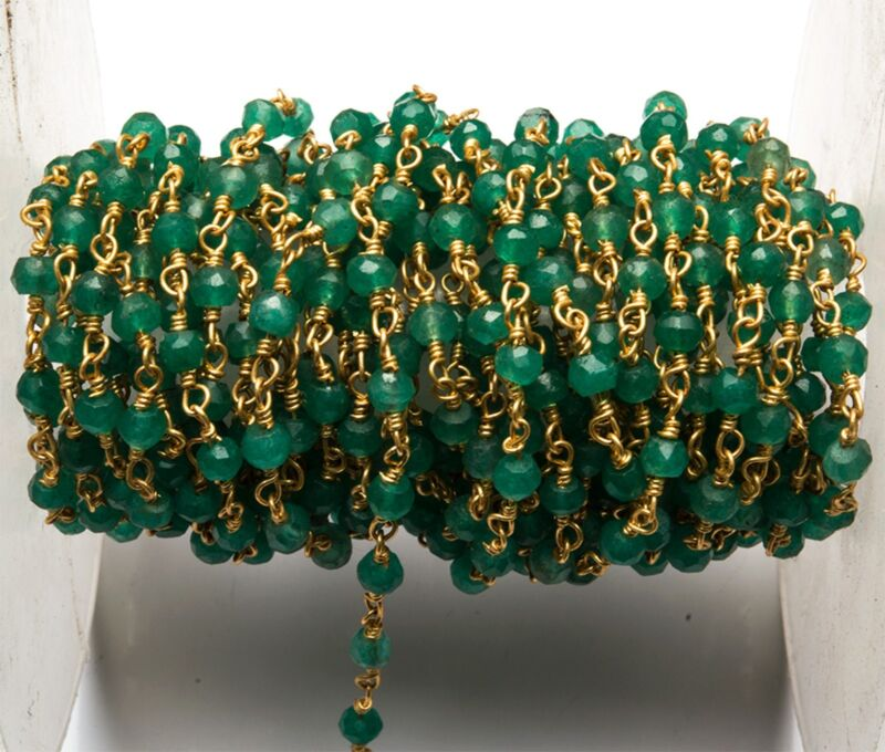 """Natural Emerald Color Quartz 3.5MM Facet Gold Plated Rosary Style Link Chain 12"""""""