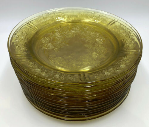 Federal Glass SHARON/CABBAGE ROSE AMBER DINNER PLATES - Set of 13  (542H)
