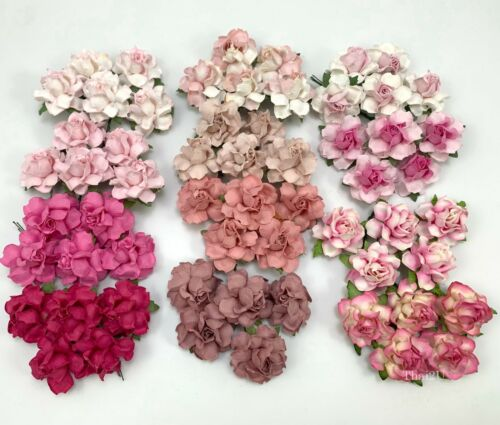 """60 Mixed 1-1/2"""" of 12 Colors Paper Flower Wedding Scrapbook (TH/R21-Set-Pink-A1)"""