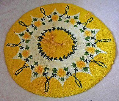 36 Round Hooked Rug - Hand hooked yellow round rug, circa 1960s in original condition, 36