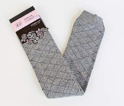 Gray Grey diamond argyle knit stretchy leg warmers 21