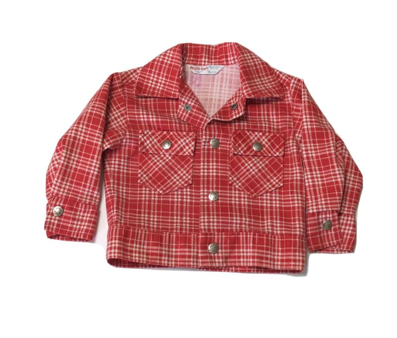 Vintage HEALTHTEX Boys Girls Sz 3T Red White Plaid Jacket w/Snaps Banded Waist