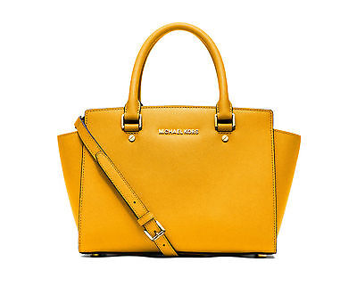 NWT MICHAEL KORS MEDIUM SELMA SAFFIANO LEATHER SATCHEL BAG SUN YELLOW GOLD $298