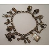 Vintage Antique Sterling Silver Charm Bracelet - 13 Charms - 3 Movable Charms