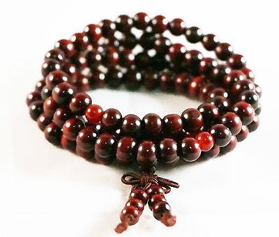8mm Tibetan 108 Red Sandalwood Buddhist Prayer Beads Mala Bracelet Necklace
