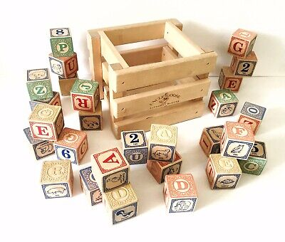 UNCLE GOOSE Set of 27 Wooden Blocks with Wooden Crate Numbers Alphabet Stacking