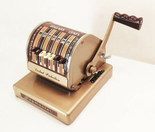 Vtg antique Paymaster x-550 check writer stamping machine mechanical hand crank